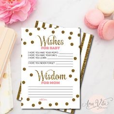 Wishes for Baby Shower Printable Instant Download Gold Glitter Gold Dots Confetti Baby Shower Game Baby Shower Decoration Baby Advice Card