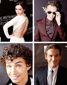Lily Collins, Jamie Campbell Bower, Robert Sheehan, and Kevin Zegers at the Toronto TMI premiere.