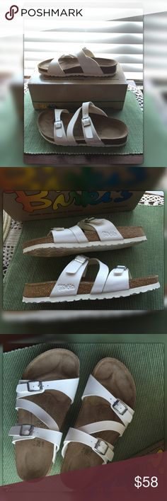 Birkenstock White Birkis Sandals EU39 US8.5 - 9 EUC white Birkenstock Birkis slip-on sandals with double adjustable straps.  These are like new only worn one time. Birkenstock Shoes Sandals