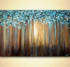 light blue blooming trees textured painting