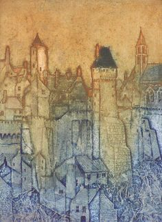 "Artist: Laurie Rudling. Title: Les Vieilles Tours 2. Description: Collagraph, Edition 10, Size: 15""x18"""