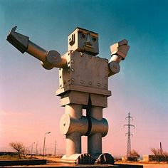 A massive statue of a robot stands outside the former Soviet-era synthetic rubber factory in Sumgayit, Azerbaijan by Rena Effendi
