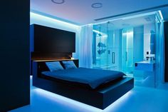 16 Amazing to Build Futuristic Bedroom Design Ever - Architecturehd Blue Bedroom, Modern Bedroom, Bedroom 2018, Teen Bedroom, Master Bedroom, Light Bedroom, Girl Bedrooms, Bedroom Art, Led Room Lighting
