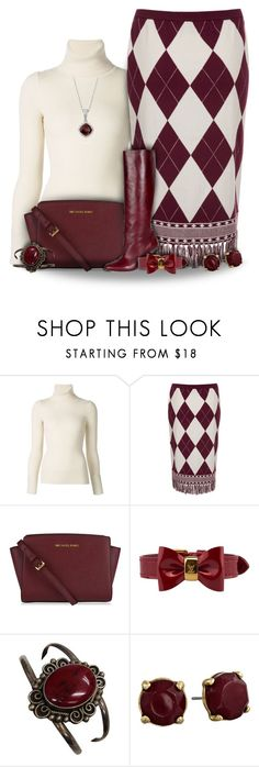 """Maroon and Cream Argyle Skirt Fashion"" by superstylist ❤ liked on Polyvore featuring Emanuel Ungaro, J.W. Anderson, MICHAEL Michael Kors, Louis Vuitton, Lucky Brand, Blue Nile, women's clothing, women, female and woman"
