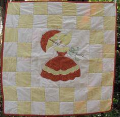Bridal Shower Signature Quilt - guest book alternative: sunbonnet umbrella lady quilt