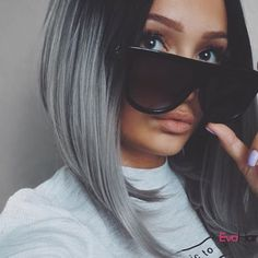 WowSuper You Looks great @ca6ina.m in your Angled Cut Grey Ombre wig. Looks sooo cool and awesome, It's perfect and a nice shot✨✨, Love it very much. Wig SKU: NS-004. Using Coupon: NEW2017 to get 18% OFF. www.evahair.com #evahair #evahairofficial #greyhair #syntheticwig #lacefrontwigs #ombrewig #fashion #newarrival #flashsale