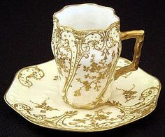 Antique Limoges Chocolate Cup & Saucer, produced in France by Charles Ahrenfeldt in the late century. The saucer has a diameter of 4 inches and the cup is 3 inches high. Antique Tea Cups, Vintage Teacups, Vintage China, Teapots And Cups, Chocolate Cups, Tea Service, Mellow Yellow, Tea Cup Saucer, Tea Party