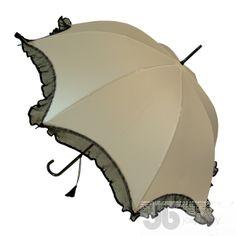 Beige Scalloped Wedding Umbrella with Lace Trim