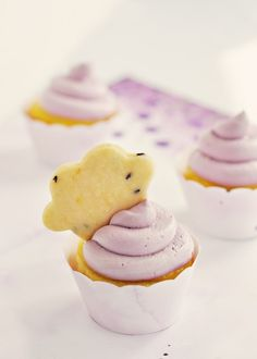 Lavender & Lemon Cloud Cupcakes from @Sweetapolita I'm in love with EVERYTHING she does. #cupcakes #lemon #recipe