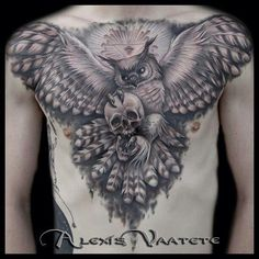 Awesome owl - skull design by tattoo artist Alexis Vaatete