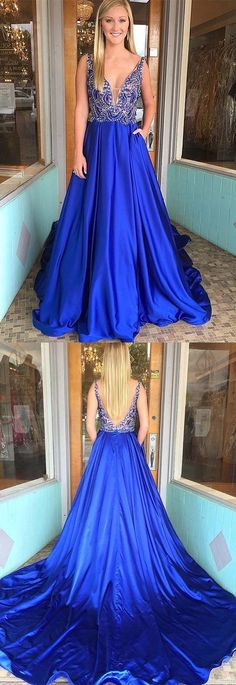 Prom Dresses Ball Gown, sexy v neck backless royal blue long prom dresses,unique beaded sleeveless graduation party dress for teens, from the ever-popular high-low prom dresses, to fun and flirty short prom dresses and elegant long prom gowns. Royal Blue Formal Dresses, Formal Dresses For Teens, Elegant Prom Dresses, A Line Prom Dresses, Prom Dresses Online, Formal Evening Dresses, Dance Dresses, Trendy Dresses, Dress Formal
