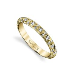 J-5863: Diamond and 18k yellow gold criss-cross artisan eternity band, finger size 5 Diamond: 45 diamonds weigh 0.35 carats total, 1.0-1.60mm in diameter an...