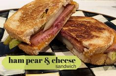 An easy weekday lunch – Grilled Ham and Cheese with Pears is a great way to use up leftover foods like Easter ham. to Mom Nutrition Healthy Side Dishes, Healthy Snacks, Healthy Recipes, Healthy Kids, Delicious Recipes, Healthy Eating, Baby Food Recipes, Wine Recipes, Sandwich Recipes