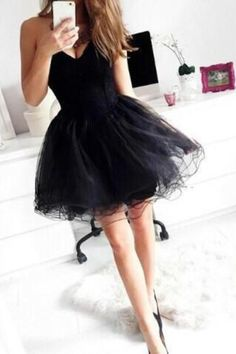 Pretty Black Short Homecoming Dresses,Sweetheart Simple Cocktail Dresses,Cheap…
