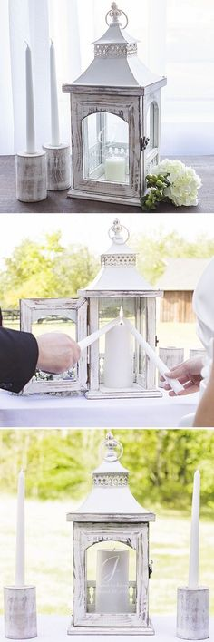 Symbolizing two hearts becoming one, the unity ceremony is a romantic and fun wedding tradition celebrated by many couples on their wedding day. A unity lantern personalized with the bride and groom's name, wedding date and married name initial or monogram is a unique, timeless reminder of your wedding day and a functional decoration for the home for years to come. This unity lantern set can be ordered at http://myweddingreceptionideas.com/personalized-rustic-unity-lantern-candle-holder.asp