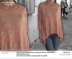 #Sweater Rosa. Más largo por detrás, muy amplio. CS 013 Tejido suave Rosa con engominado de oro pálido M,L,XL $990