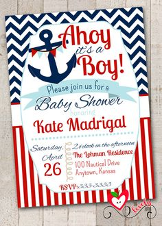 Nautical Baby Shower Invitation with FREE Diaper Raffle Cards, DIY Printable Nautical Baby Shower Invite, Baby Boy Shower Invite on Etsy, $15.00