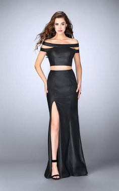 e83b3b1927 La Femme - 24109 Dashing Off The Shoulder Neck Two-Piece Leather Dress