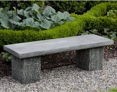 Campania International Reef Point Cast Stone Backless Garden Bench contemporary outdoor stools and benches Concrete Garden Bench, Stone Garden Bench, Outdoor Garden Bench, Outdoor Stools, Stone Bench, Garden Seating, Garden Stones, Outdoor Gardens, Unique Gardens