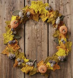 On page 73 of issue 49 is this stunning crochet autumn wreath, by Kate Eastwood of 'Just Pootling'. So we asked her about turning crochet into a business Crochet Patterns For Beginners, Easy Crochet Patterns, Crochet Designs, Fall Patterns, Fall Garland, Autumn Wreaths, Crochet Leaves, Crochet Flowers, Autumn Crochet