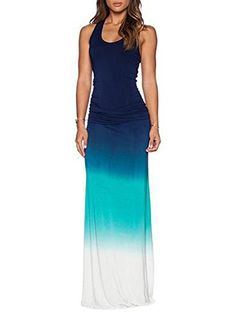ZXZY Women Casual Sleeveless Gradient Print Maxi Dress -- Read more reviews of the product by visiting the link on the image. Note: It's an affiliate link to Amazon.