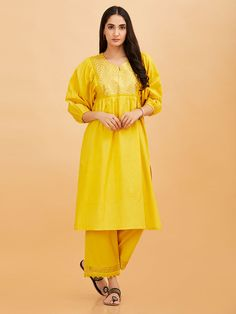The Loom- An online Shop for Exclusive Handcrafted products comprising of Apparel, Sarees, Jewelry, Footwears & Home decor. Designs For Dresses, Indian Ethnic Wear, Loom, Bag Accessories, Pajamas, Saree, Suits, Yellow, Cotton