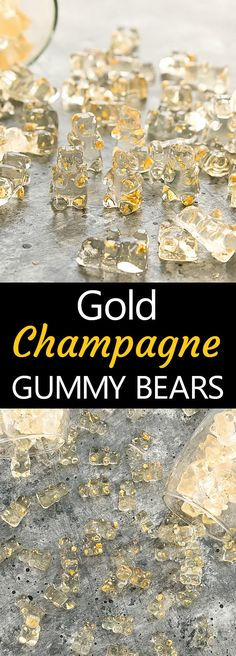 Gold Champagne Gummy Bears. Homemade champagne flavored gummy bears with edible gold flecks. Perfect for a party or for gifting.