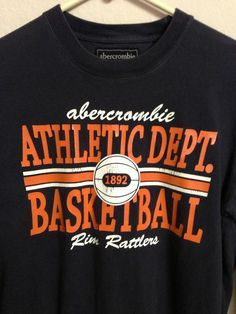 ABERCROMBIE & FITCH BASKETBALL LONG SLEEVE SHIRT RIM RATTLERS ADULT SIZE LARGE  #AbercrombieFitch #LongSleeve