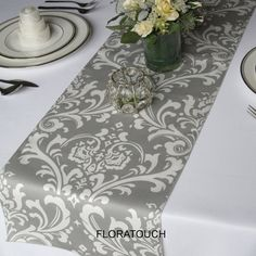 Traditions Gray and White Damask Wedding Table Runner wrapping paper could look like this as a cheaper option
