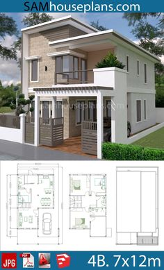 House Plans with 4 Bedrooms Plot House Plans wi. - House Plans with 4 Bedrooms Plot House Plans with 4 Bedrooms Plot - 2 Storey House Design, Duplex House Design, Duplex House Plans, Bedroom House Plans, Cottage House Plans, Country House Plans, Modern House Plans, Modern House Design, Cottage Homes