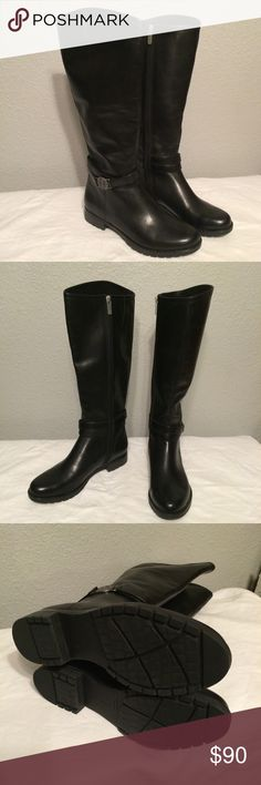 Rockport black leather riding boots-adiprene sole NWOT Rockport riding boots with the Adidas adiprene sole for comfort. Real leather with a nonskid sole. Never worn because my calves are too thick. Great quality. Rockport Shoes Winter & Rain Boots