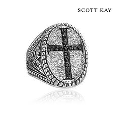 2Scott Kay's Mens Faith Collection - Mens Sterling Silver Engraved Black Sapphire Cross Ring (Product Style: GR2677SPABSM) #ScottKay #SterlingSilver #MensFashion