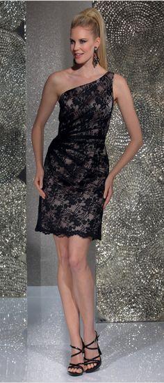 Isabel de Mestre - Evenings Abendkleider Kollektion 2016 (Art.15E040): Kurzes Abendkleid in  Schwarz mit Spitze für Hochzeit und Co.