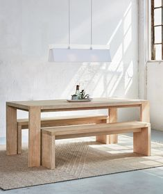 Plank Table, Dining Table With Bench, Wooden Dining Tables, Modern Dining Table, Natural Wood Dining Table, Wooden Dining Table Designs, Dining Table Decor Everyday, White Oak Dining Table, Kitchen Table Bench