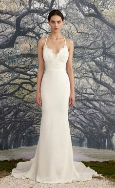 Simple lace wedding dress with straps   Blake by Nicole Miller