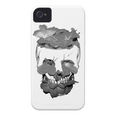 Flowers In A Skull In Black And White iPhone 4 Cover