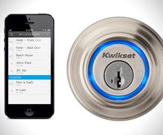 Forget using normal keys ever again. Keep your iPhone in your pocket, walk up to the door, place your finger on the lock, and you're in. The ring around the lock communicates with your iPhone via Bluetooth, and the blue ring will illuminate once you're within range, changing to green once you've unlocked the door.