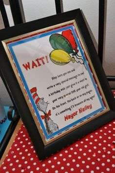 Dr. Seuss Birthday Party Sign Decorations - Centerpieces - Party Favors - Digital File - Welcome Sign - Sign my book. $2.99, via Etsy.