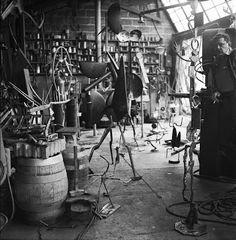 David Smith in his workshop, Bolton Landing, 1953.