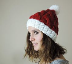 Christmas Hat Red and White Hand Knitted Beanie by orangeknitting