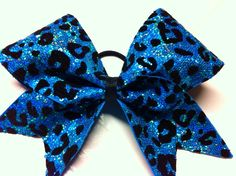 Blue sparkly cheetah bow