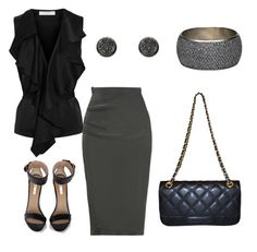 Quilted bag, pencil skirt