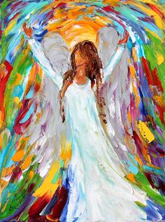 Original painting Angel Magic PALETTE KNIFE oil por Karensfineart