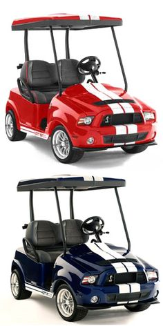 Choose your color! Get a mustang golf cart to suit your fancy.