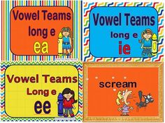 This package contains 3 Power Points and Printables for the  three long e vowel teams: EA, EE, IE.  The Printables include  Posters for display, word cards and a wordsearch for each vowel team.  The colorful slides start with the vowel team then other letters are added to form a word.
