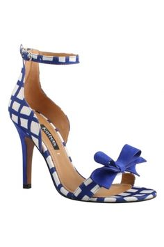 BAROQUE - Royal Blue/ White from REMAC. Modern and feminine ankle strap stiletto in Kay Unger Checkered fabric with suede bow and heel. Perfect day to night; denim fashion to dinner perfection. An adjustable strap and back zipper added for easy wear. $295