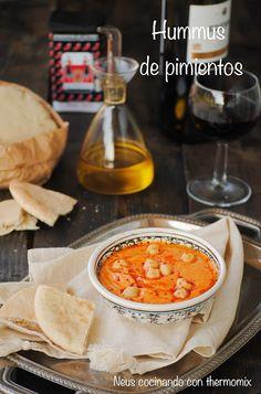 Neus cocinando con Thermomix: Hummus de garbanzos con pimientos asados Dairy Free Recipes, Vegan Recipes, Spanish Cuisine, Going Vegetarian, Recipe Collection, Chana Masala, Cooking Time, Salad Recipes, Tapas