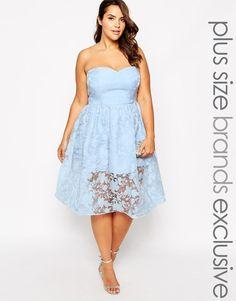 Chi Chi Plus   Chi Chi London Plus Lace Bandeau Prom Dress at ASOS