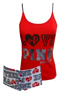 love pink   pj's for women | LOVE PINK Panther Red Hot Shortie Pajama for women