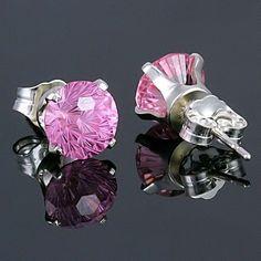 Starfire: 6mm Pink Sapphire Ice CZ Crown Set Earrings 925 Silver - Trustmark Jewelers